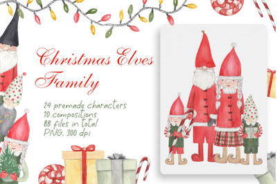 Christmas Elves Family Clipart Collection. Elf Characters