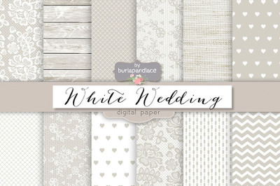 White wedding digital paper pack