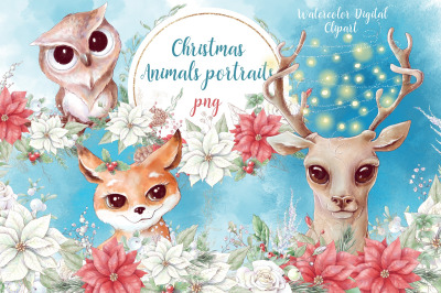 Christmas watercolor animal portraits and bouquets with poinsettia and