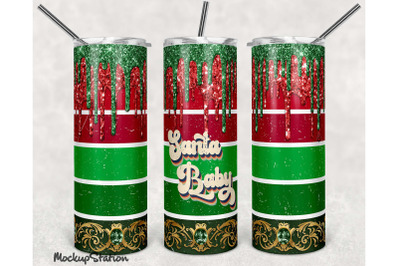 Christmas Glitter 20oz Skinny Tumbler Sublimation Design PNG
