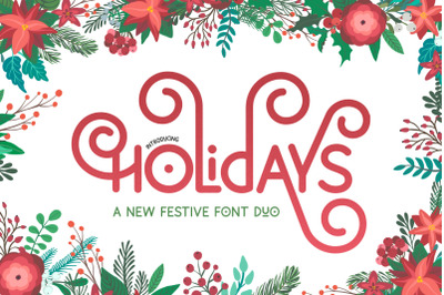Holidays Font Duo (Christmas Fonts, Festive Fonts, Holidays Fonts)