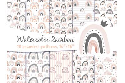 Rainbow Scandi Pastel Blush Pink Seamless Pattern