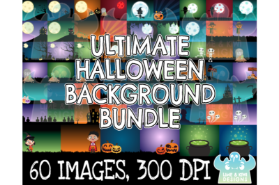 Ultimate Halloween Background Clipart Bundle - Lime and Kiwi Designs