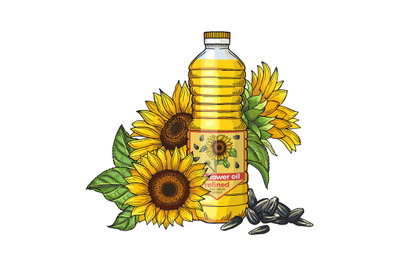 Sunflower oil sketch. Vector seeds, sunflowers and oil bottle isolated