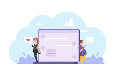 Online dating concept. Man and woman chatting online. Cartoon characte