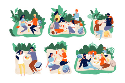 Picnic people. Outdoor family happy group together eating dinner in gr