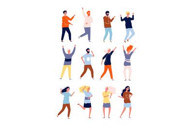 Happy dancers. Party happy people night club crowd dancers stylized ch