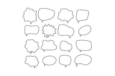 Linear speech bubbles. Scribe round shapes for comic magazine bubble t