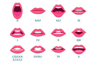 Female mouth animation. Sexy lips speak sounds pronunciation english l