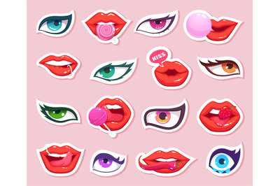 Fashion stickers. Sexy woman lips with candy and eyes comics smiling m