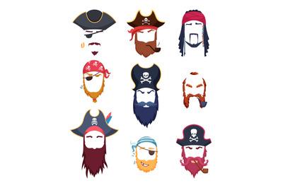 Pirate masks. Carnival costumes element mustache hat beard hook hair v