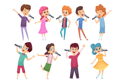 Singing childrens. Male and female kids standing with microphones musi