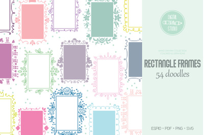 Rectangle Frame Color, Hand Drawn Oblong Border, Decorated Monogram Wr