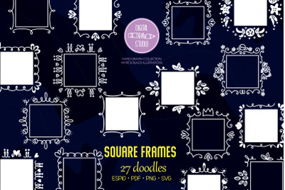 Square Frame White, Hand Drawn  Border, Decorated Monogram Wreath