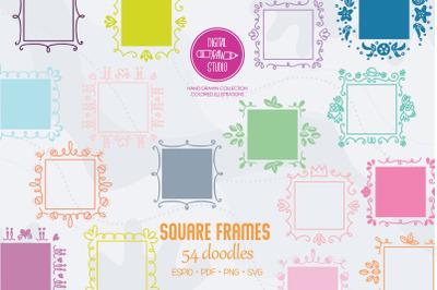 Square Frame Color, Hand Drawn  Border, Decorated Monogram Wreath