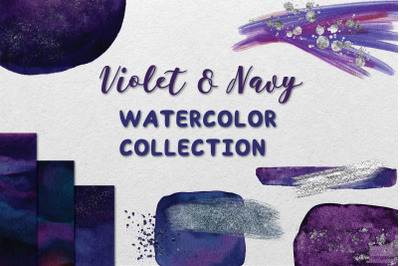 Violet and Navy Watercolor Collection