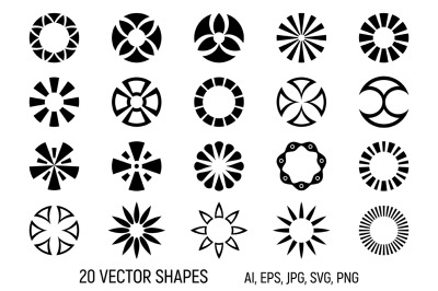 20 abstract geometric circular shapes
