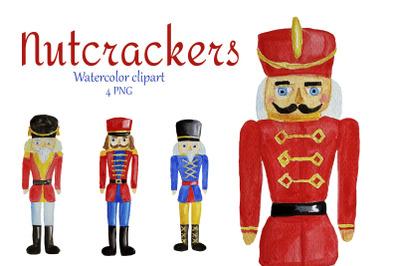 Watercolor Nutcracker Clipart. Christmas PNG clip art