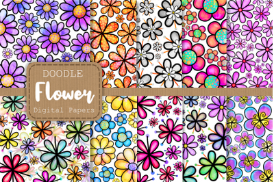 Doodle Daisy Flower Digital Papers