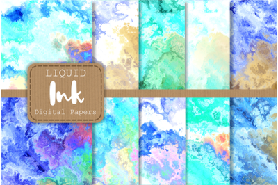 Blue Turquoise Liquid Fluid Ink Papers
