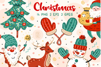 Christmas clip art. New Year illustrations.