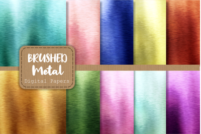 Brushed Metallic Rainbow Digital Papers