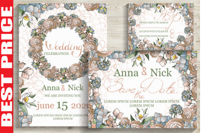 Pastel Wedding Invitation Cards
