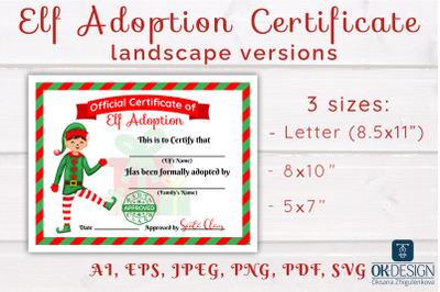 Elf Adoption Certificates kit Printable landscape versions. SVG Cute f