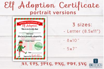 Elf Adoption Certificates kit Printable portrait versions. SVG Cute fi