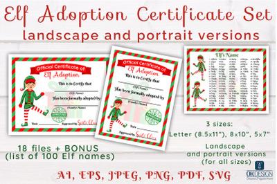 Elf Adoption Certificates Printable set. Landscape and Portrait versio