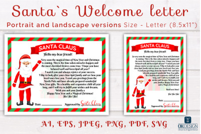Santa letter SVG. Santa Welcome letter cute files.