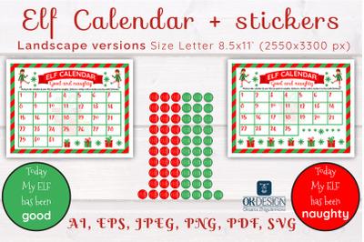 Elf Calendar SVG. Good and Naughty elf. EPS, PNG, PDF files.