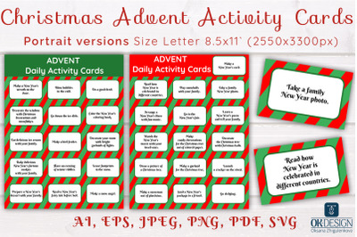 Christmas advent activity cards SVG. Christmas daily activity cards wi