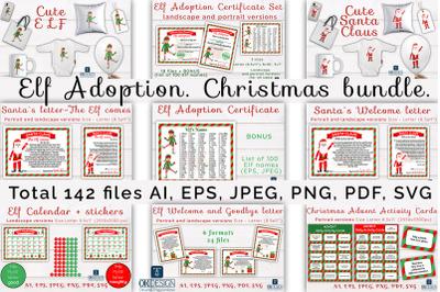 Elf Adoption set. Christmas bundle SVG, EPS, PDF, PNG files.