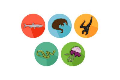 Gibbon Friends Cartoon Animals Icon Bundle