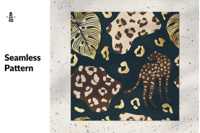 Gold cheetah seamless pattern