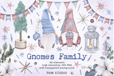 Christmas Gnomes Family Tree Star Lantern Winter Clipart