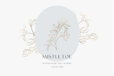 Mistletoe. Watercolor and Graphic collection, Black Friday Sale!