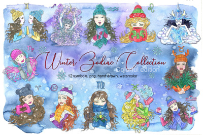 Winter zodiac set colorful