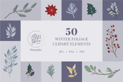 Winter Foliage Clipart Pack