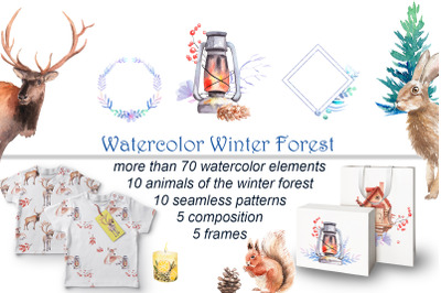 Watercolor Winter Forest