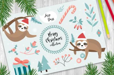 Cute sloth Merry christmas set