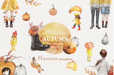AUTUMN HALLOWEEN ILLUSTRATIONS-watercolor illustrations autumn cards-a