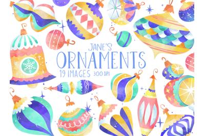 Watercolor Ornaments Set