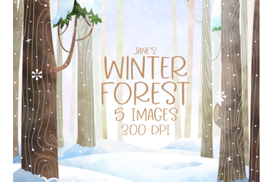 Watercolor Snowy Forest Set