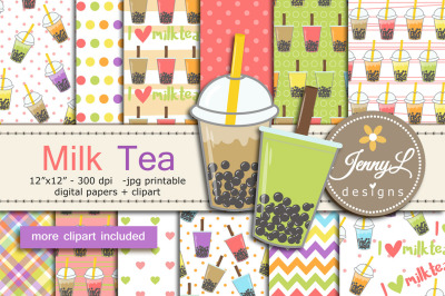 Milk Tea Digital Papers and Clipart