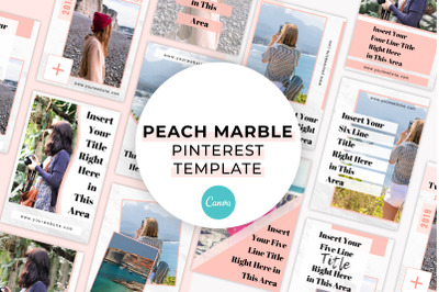 Peach Marble Pinterest Canva Template