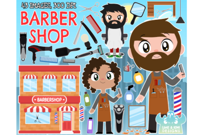 Barber Shop Clipart - Lime and Kiwi Designs