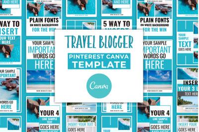 Travel Blogger Pinterest Canva Template