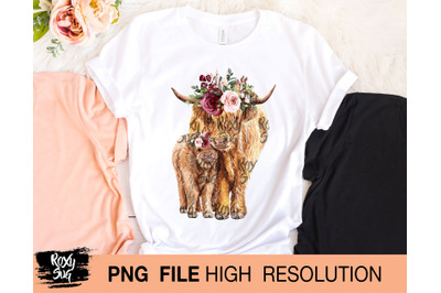 Cow and calf with flower crown
